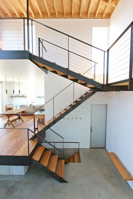 EngineHouse + QUARTER design studio | Seaside Residence | Block Island, RI – custom-fabricated steel and douglas fir staircase (photo provided by EngineHouse)