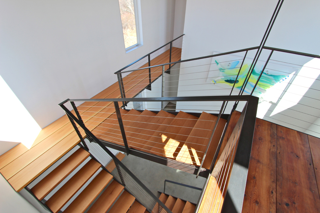 QUARTER design studio + EngineHouse | Seaside Residence | Block Island, RI – custom staircase and balcony to master suite – photo provided by EngineHouse