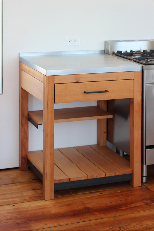 QUARTER design studio + EngineHouse | Seaside Residence | Block Island, RI – custom made douglas fir cabinets with zinc countertop (photo provided by EngineHouse)