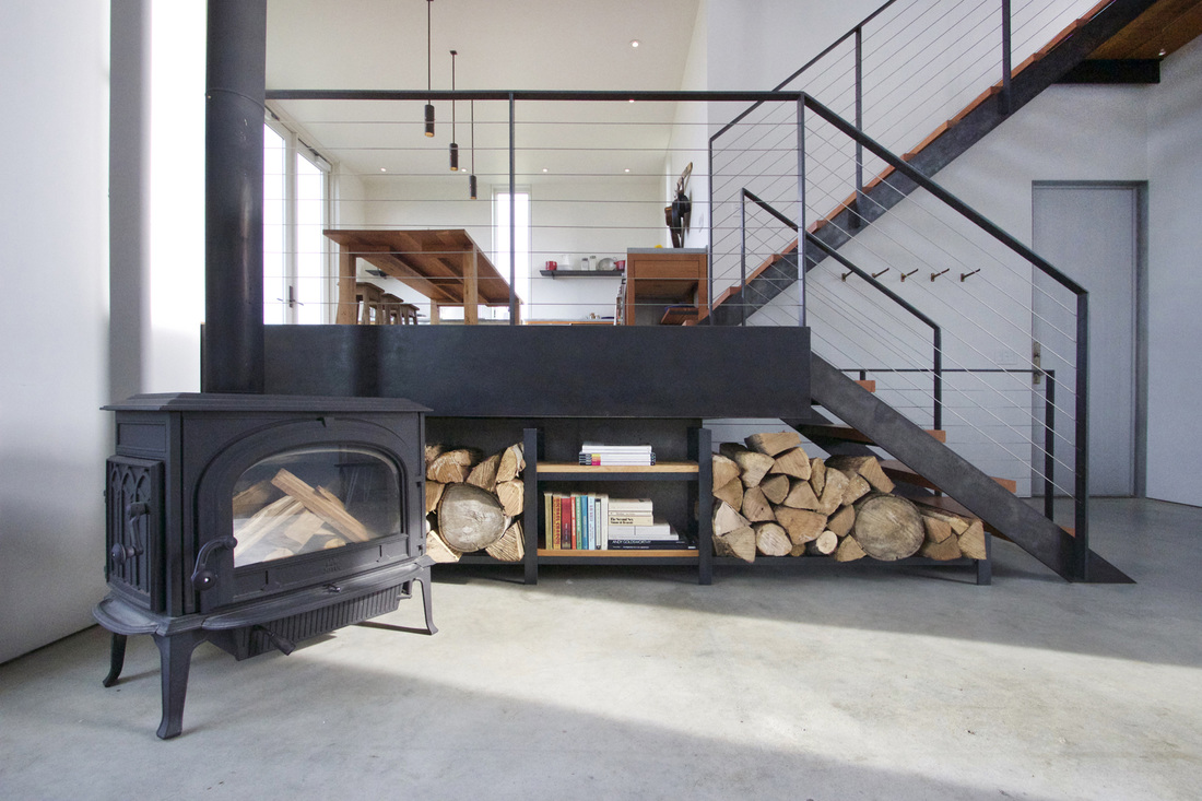 QUARTER design studio + EngineHouse | Seaside Residence | Block Island, RI – custom made firewood storage and shelving