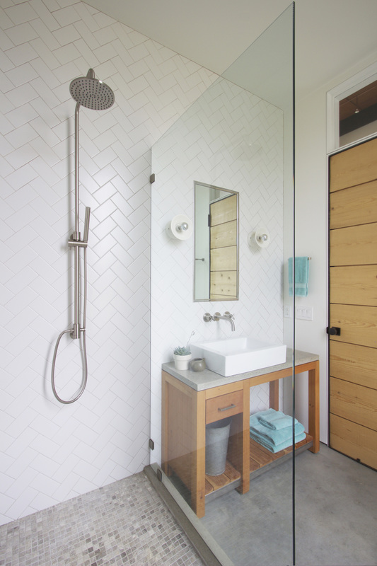 QUARTER design studio + EngineHouse | Seaside Residence | Block Island, RI – guest bathroom, with rain shower and custom vanity