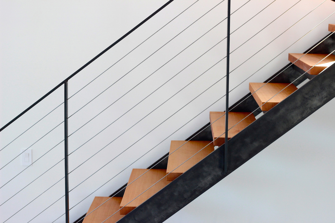 QUARTER design studio + EngineHouse | Seaside Residence | Block Island, RI – custom fabricated steel stair and railing with douglas fir treads (photo provided by EngineHouse)